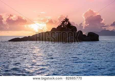 Uninhabited Seychelles Island - View From The Sea During Sunset