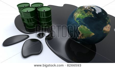 Oil Drums And Globe Sat In Spilt Oil