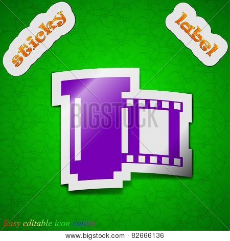 Negative Films  Icon Sign. Symbol Chic Colored Sticky Label On Green Background. Vector
