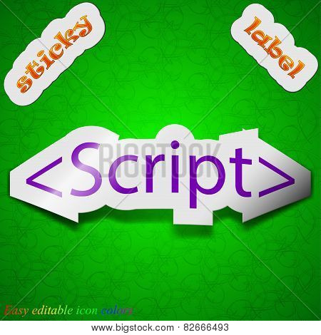Script Icon Sign. Symbol Chic Colored Sticky Label On Green Background. Vector