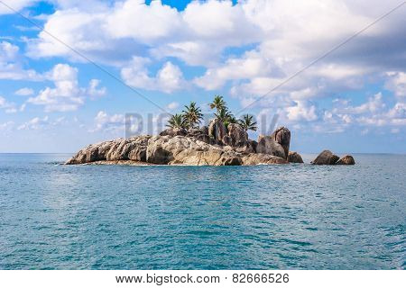 Uninhabited Seychelles Island - View From The Sea