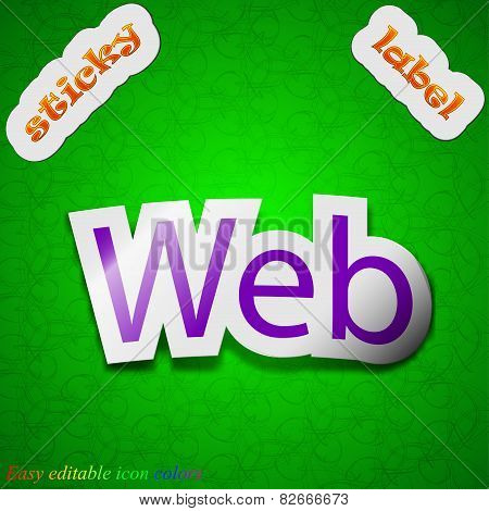 Web Icon Sign. Symbol Chic Colored Sticky Label On Green Background. Vector