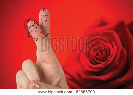 Composite image of fingers crossed like a couple