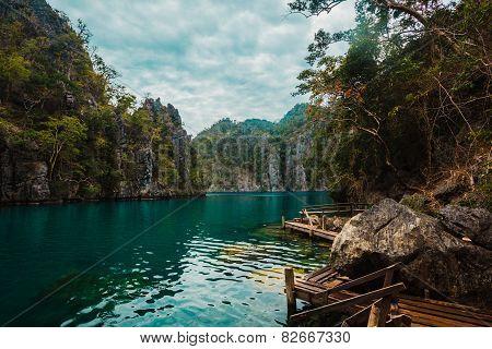 Pier In Lake Kayangan, Philippines