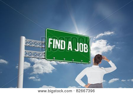 The word find a job and businesswoman scratching her head against cloudy sky with sunshine