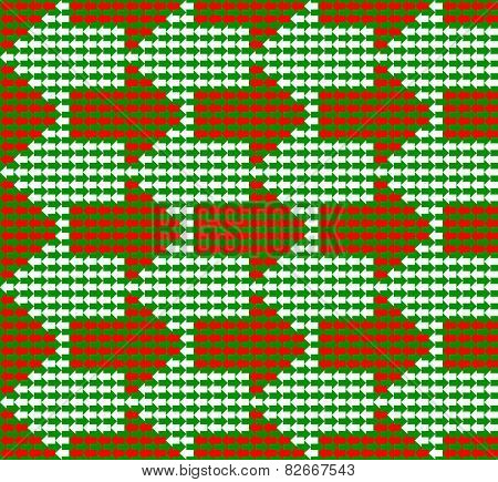 Green, white and red arrows pointing to opposite directions, with small ones forming bigger ones, a seamless pattern