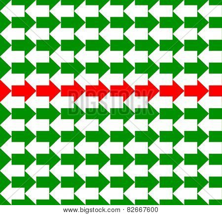 Green and white arrows pointing to opposite directions, with a red line in the middle, a seamless pattern