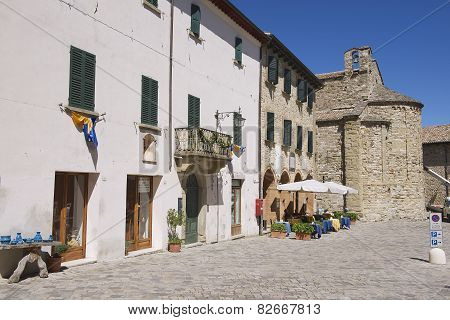 Exterior of the medieval town buildings of San Leo in San Leo, Italy.
