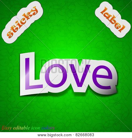Love You Icon Sign. Symbol Chic Colored Sticky Label On Green Background. Vector