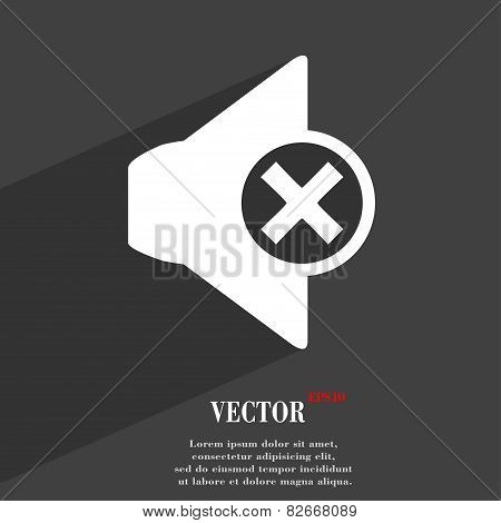 Mute Speaker Icon Symbol Flat Modern Web Design With Long Shadow And Space For Your Text. Vector