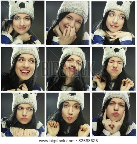 Collage of the same woman in winter hat making diferent expressions.Studio shot.