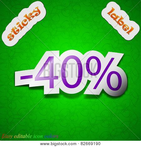 40 Percent Discount Icon Sign. Symbol Chic Colored Sticky Label On Green Background. Vector
