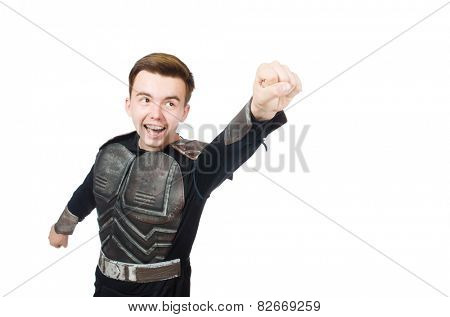 Funny warrior isolated on the white background