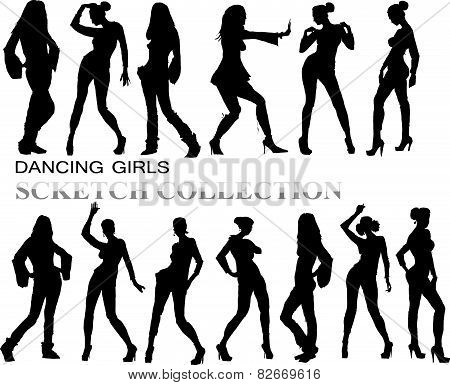 PrintDancing girls silhouettes