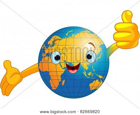Illustration of Globe with human face