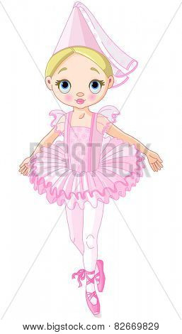 Illustration of a cute little ballerina dressed like princess