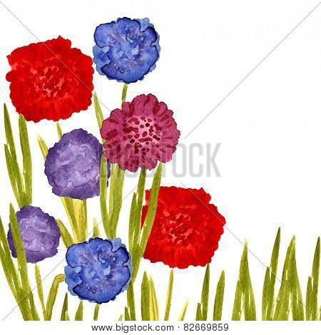 Vector watercolor painted card with blooming dahlia flowers