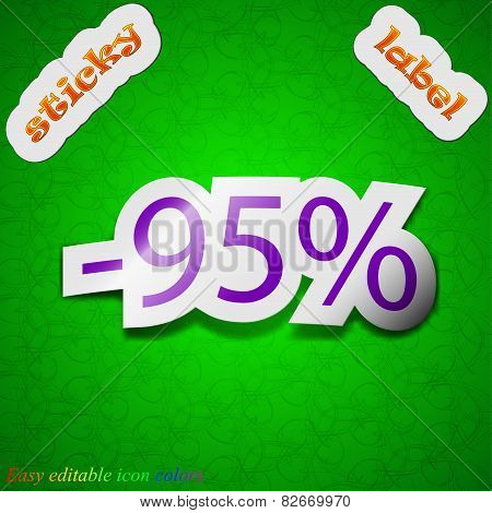 95 Percent Discount Icon Sign. Symbol Chic Colored Sticky Label On Green Background. Vector