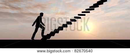 Concept conceptual 3D male businessman on stair or steps over sunset sky background, metaphor to success, climb, business, rise, achievement, growth, job, career, leadership, education, goal or future