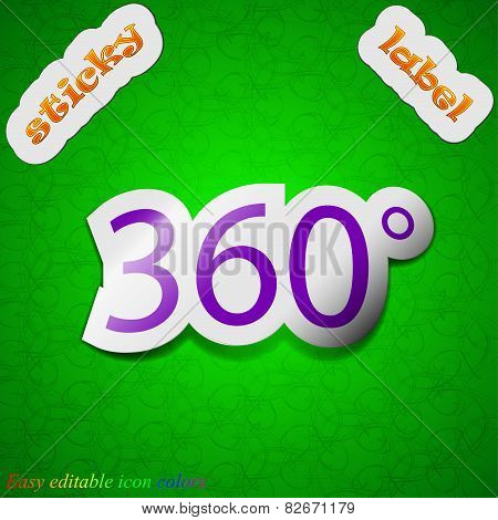 Angle 360 Degrees Icon Sign. Symbol Chic Colored Sticky Label On Green Background. Vector