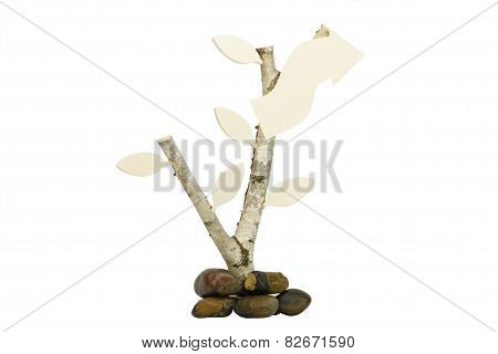 Birchwood with wooden arrow