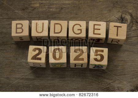 Budget for 2025 wooden, blocks on a wooden background