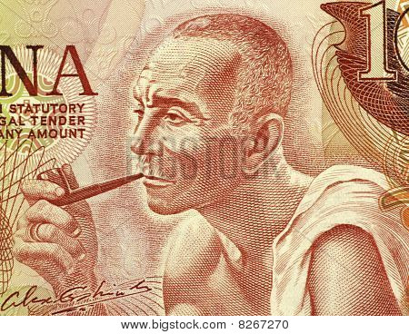 Ghana - Circa 1978: Man Smoking A Pipe