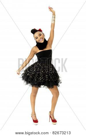Full-length Studio Photo of Beautiful African Female Model in Modern Black Dress, on White Backgroun