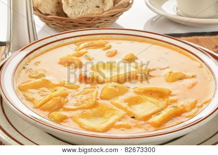 Seafood Bisque With Lobster Ravioli