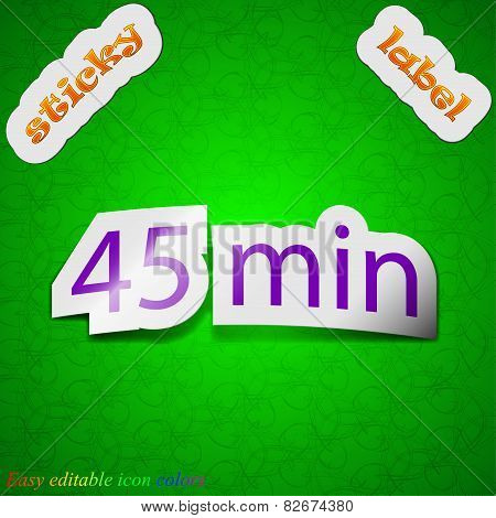 Forty-five Icon Sign. Symbol Chic Colored Sticky Label On Green Background. Vector