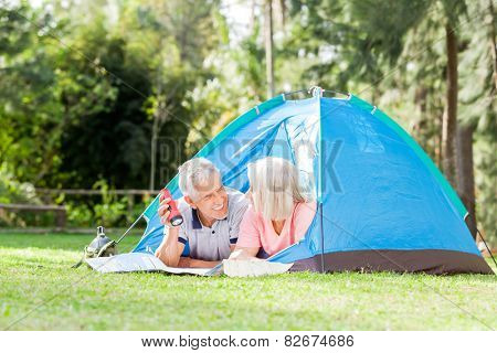 Happy senior couple with map and torch in tent at park