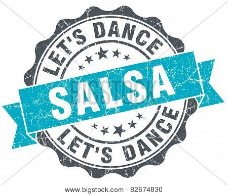 Salsa Dance Vintage Turquoise Seal Isolated On White