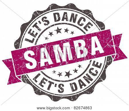 Samba Grunge Violet Seal Isolated On White