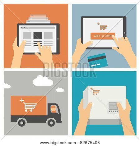 Online shopping on mobile device / tablet - Set of modern flat design illustrations