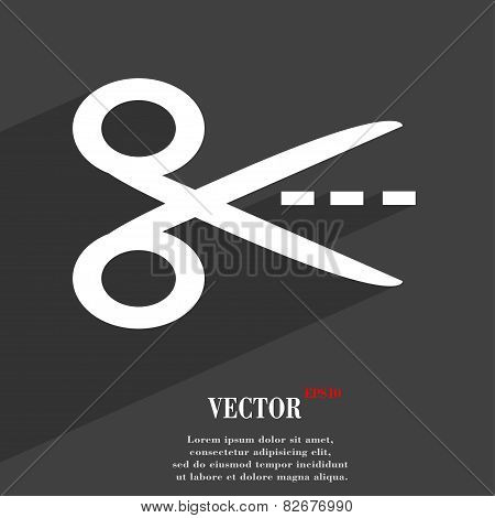 Scissors Cut Dash Dotted Line Icon Symbol Flat Modern Web Design With Long Shadow And Space For Your