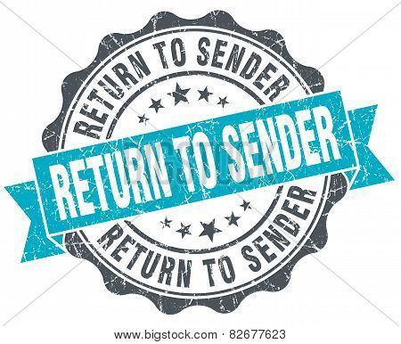 Return To Sender Vintage Turquoise Seal Isolated On White
