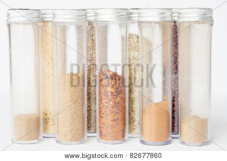 Assorted ground spices in bottles