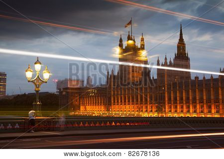 Big Ben and houses of Parliament. Thames embankment