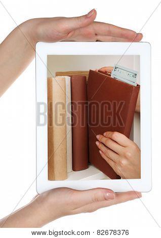 E-learning concept.  Digital library - books inside tablet