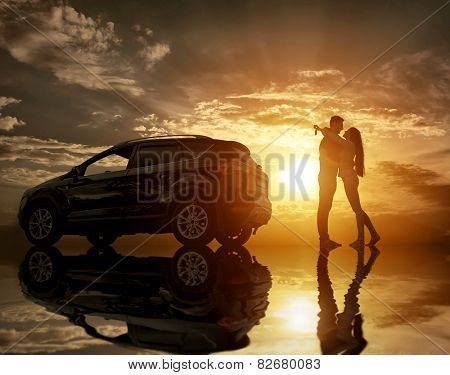Silhouette of happiness couple stay near the new car under sky with reflex