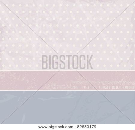 Cute abstract background - soft pink and blue vintage design with polka dots and banner