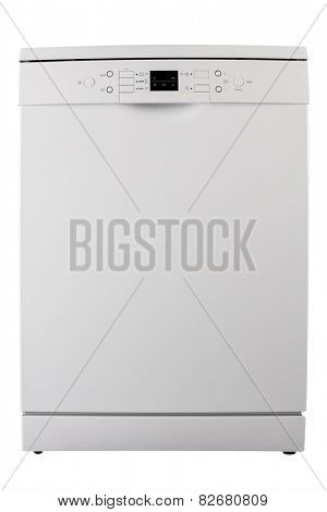 White dishwasher isolated on white background