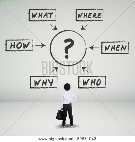 Child Looking At Various Questions