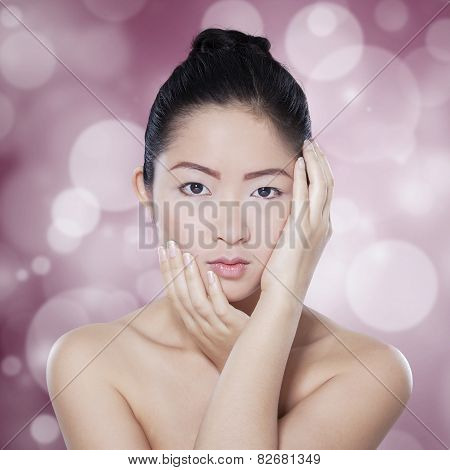 Chinese Girl With Natural Skin In Studio