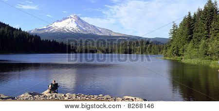 Mt. Hood & Trillium lake panorama, Oregon.