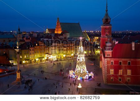 Christmas decorations in Warsaw, Poland.