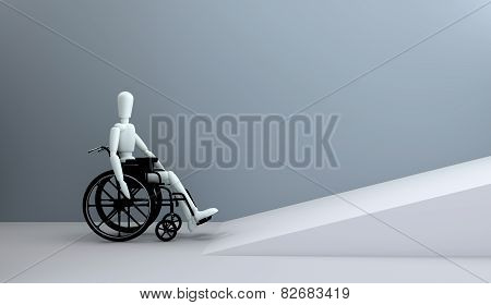 Wheelchair In Front Of Ramp