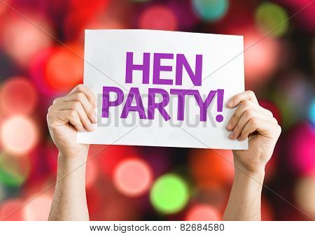 Hen Party! card with colorful background with defocused lights
