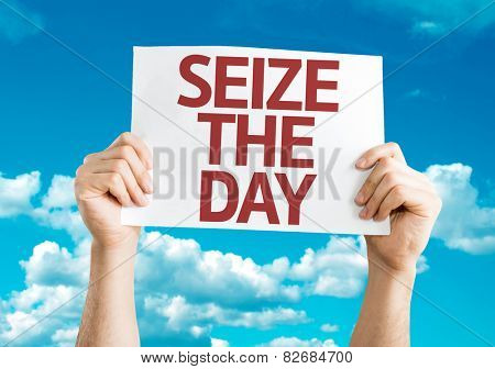 Seize the Day card with sky background