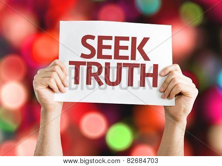 Seek Truth card with colorful background with defocused lights